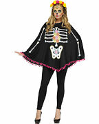 Morris Costumes Womenand039s Poncho Day Of Dead Halloween Costume One Size. Fw90355d