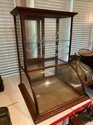 Antique Griffon Cutlery Curved Glass Table Top Oak Display Cabinet