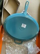 Le Creuset Large Cast Iron Oval Skillet 15.75andrdquoblue Andldquo Caribbean Teal Andldquo