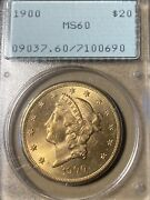 1900 Rattler Pcgs Ms60 20 Liberty Gold Double Eagle