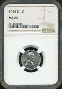 1943-d Ngc Ms66 Lincoln Steel Penny