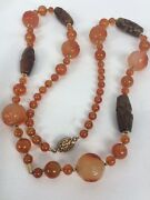 Antique Vtg. Chinese Carved Face Carnelian Jade Silver Gilt Clasp Necklace
