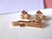 Vintage Collectible Swank Goldtone Mesh And Brown Stone Cufflink And Tie Clasp Set