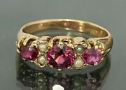 Antique 9ct Solid Gold W/ Garnet And Pearl Ring 2.56g Size L 1/2 - 5 7/8