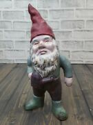 Vintage Cast Iron Garden Gnome Holding Watering Can - Door Stop Lawn Yard Art
