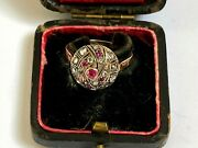 Antique Russian Faberge 18k 72 At Gold Silver Diamonds Rubies Author`s Ring