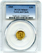 1905 Lewis And Clark G1 Gold Dollar Coin Pcgs Ms64+