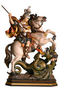 Statue Saint George On Horseback Cm. 27 In Wood Carved By Hand - Sheet Gold