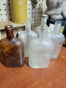 Lot Of 5 Antique Pint Bottles Vintage Collectable Old Corks Liquor Whiskey