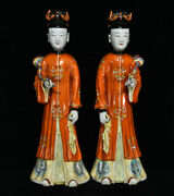 16.8 Dynasty Color Porcelain Maidservant Woman Statue Pair Yu Bing Chang Make