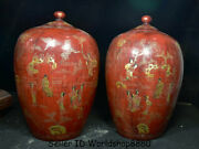 14 Antique Old China Porcelain Painting Dynasty People Story Pot Jar Crock Pair