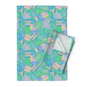 Easter Egg Pastel Pink Blue Green Linen Cotton Tea Towels By Roostery Set Of 2