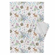 Watercolor Easter Easter Bunnies Linen Cotton Tea Towels By Roostery Set Of 2