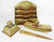 Antique Owl Jeweled Brass And Wood Desk Set Four Pieces