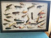 32 Vintage Fishing Lures In Display Frame Wall Mount 32 Lures