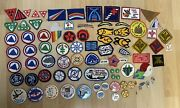 Vintage Campfire Patches Buttons Pins 70's 80's Huge Mixed Lot Felt Beads Awards