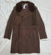 Purple Label Polo Lambskin Leather Shearling Belted Trench Coat Xl