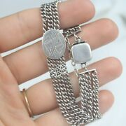 Antique Sterling Silver 3 Chain Victorian Etched Design Slide Bracelet 7and039and039 Long