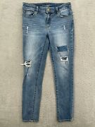 Chicos Platinum Womens Blue Beaded Distressed Jegging Jeans Skinny Leg Size 00