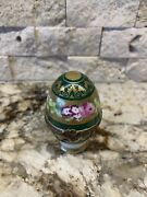 Peint Main Limoges Trinket-royal Egg In Green With Removable Perfume Bottle