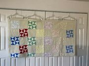 Vintage 1930-1940andrsquos Quilt Handmade Homemade Blanket Multicolor Approx 68andrdquo X 76andrdquo