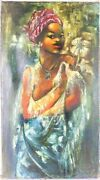 Haitian Painting Vintage Oil On Canvas, Stretched And Signed Jean-rene Jerome ..