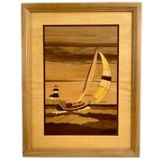 Hudson River Inlay Wood Marquetry Sailboat Seascape Art Jeff Nelson Wall Hanging