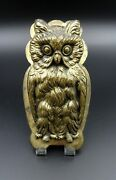 Antique Brass Figural Owl Paper Clip Wall Mount Andndash C.1940andrsquos
