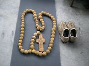 Early 17th - 18th Century Huge Hand Made Stone Catholic Rosary W/ Crucifix And Sun
