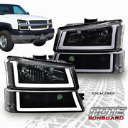 Fit For 2003-2006 Chevy Silverado Black/clear Headlight/lamp W/ Led Drl