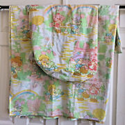 Strawberry Shortcake Twin Sheets Flat Fitted Market Friends 50/50 80s Vintage