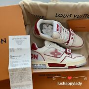 🔥louis Vuitton Lv Trainer Sneaker Leather Sneakers 6.5/ Us 7.5 Red White Rare