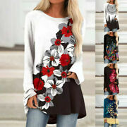 Womens Ladies Plus Size Casual Floral Long Sleeve Tops Fashion Blouse T-shirts