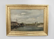 Oil On Canvas Painting Of A Harbour And Dock Marine Scene By Seymour Remenick - 2d