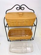 Longaberger Foundry Wrought Iron Envelope Rack And Baskets 2 Protectors 1 Lid