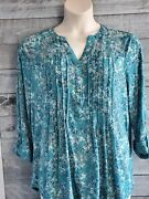 Nwt Womenand039s Ava And Grace Green Floral Tunic Blouse Mesh Yoke 3/4 Sleeve Pintucked