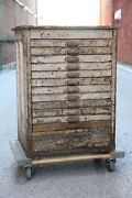 Antique Hamilton Oak 12 Drawer Wood Apothecary Cabinet Printers Typeset Map File