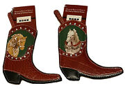 2 Faux Leather Cowboy Boot Christmas Ornaments Trail Of Painted Ponies Horses