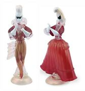 Murano Glass Sculpture Couple Pompadour Made In Italy 2 Unique Pieces