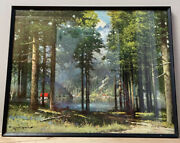 Vintage Art Robert Wood Pine And Birch Framed Reproduction Print Signed 11x14andrdquo