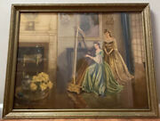 Vintage Framed Print Harmony Gail Frank Harpist Woman Gown Victorian 31x25andrdquo