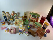 Fisher Price 2005 My First Dollhouse Large Lot Of Furniture Loving Family And Pets