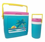 Igloo Vintage 80's Pink Teal Palm Tree 24 Can Cooler Ice Chest 1/2 Gallon Jug
