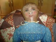 Antique Cloth Folk Art Rag Doll Painted Face With Little Teeth, Old Bue Dress