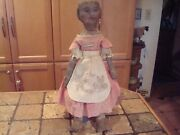 Antique Cloth Folk Art Rag Doll Sweet Painted Face, Old Pink Dress Apron
