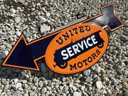 Vintage United Motors Service Embossed Tin Metal Gas And Oil Sign Auto Service