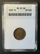 1902 Indian Head 1 Cent, Old Anacs Small Case, Ms-63 Red Brown, High Grade Coin