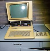 Vintage Apple Ii Computer W/ 2 Disk Drives, Monitor, 10 Key, And Cords - Powers On