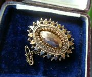 Victorian 9ct Gold Etruscan Sweetheart Brooch / Mourning Hair Locket C.1900