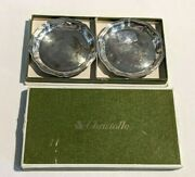 2 Vintage Art Deco Christofle France Silverplate Wine Glass Coasters In Box